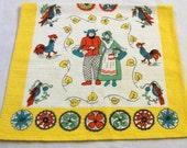 Vintage Tea Towel, Amish kitchen towel, Amish Couple,  Linen Towel, Colorful Kitchen Towels