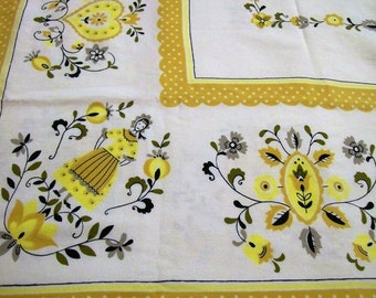 Tablecloth with Folk Art, Vintage Tablecloth, Yellow Black Gray, Hearts Flowers, Vintage Kitchen, Table Linens, 1960s