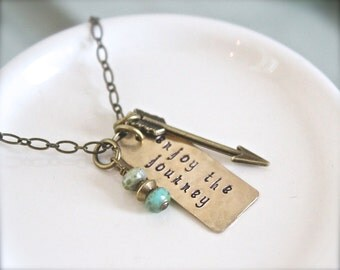 Enjoy The Journey hand stamped brass gold necklace.  Inspirational graduation college gift.  Positive quote jewelry. Arrow. Czech turquoise.