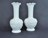 """Pair of 6"""" Imperial Milk Glass Chrysanthemum Bud Vases"""