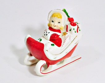 Vintage Relco Girl Riding Christmas Sleigh