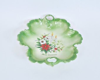 Vintage Ceramic Christmas Bowl with Poinsettias and Candles Design