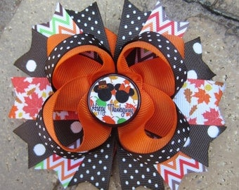 Mickey & Minnie Mouse inspired Thanksgiving Disney World Vacation Boutique Mickey Minnie Mouse Hair Bow