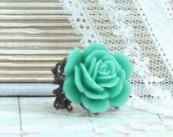 Pine Green Ring Green Rose Ring Victorian Ring Green Flower Ring Woodland Ring Green Floral Ring