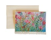 Leucadendron In Mendocino with Hummingbird Watercolor Card Watercolor Hummingbird greetings card - greetings card for bird lovers