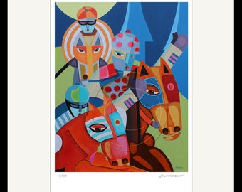 Pop Art Jockey and Horses Print from Original Oil Painting / Signed Numbered by Artist Modern Equestrian Gifts Horse Racing Art