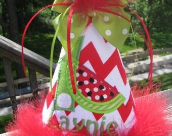 first birthday hat, watermelon birthday hat,  smash cake hat,  2nd birthday party hat,  birthday party hat,  1st birthday hat,