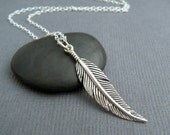 """silver feather necklace. small boho sterling pendant simple delicate dainty charm bohemian rustic everyday jewelry layered. layering. 1 1/4"""""""