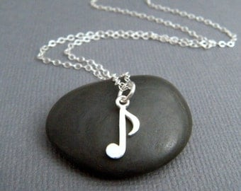 tiny silver music note necklace. small musical eighth note charm. sterling silver simple jewelry delicate pendant dainty. musician gift 1/2""