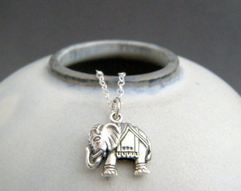 sterling silver Indian elephant necklace. small boho pendant. sterling bohemian animal charm. Hindu rustic jewelry unique gift for her