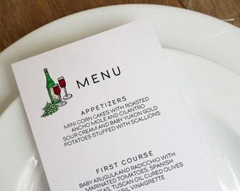 Wine and Grapes Printable Wedding Menu Template - Wedding Menu - Printable Menu Template - Menu Template - Menu Cards - Printable Menu PDF