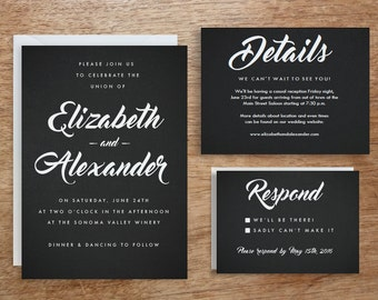 Printable Wedding Invitation Template | Instant Download | Black Chalkboard | DIY | Editable Adobe pdf | Retro Type RSVP & Info Card Set PDF