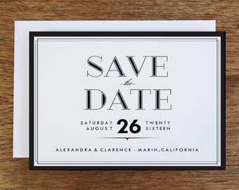 Printable Save the Date Card - Black and White Save the Date PDF Template - Instant Download Save the Date Template - Black Borders - PDF