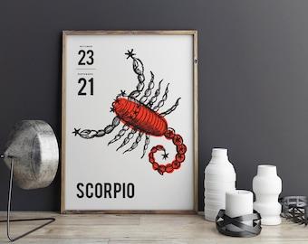 Digital Download Print - Scorpio Print - Black and Red Scorpio Poster - Zodiac Print - Printable Poster - Home Print - Astrology Poster