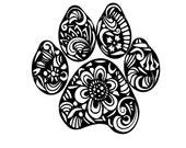 Weatherproof Vinyl Sticker - Paw Print - Dog - Cat Henna Peace Hand, Unique, Fun Sticker for Car, Luggage, Laptop - Artstudio54