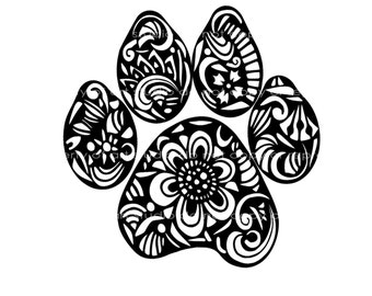Weatherproof Vinyl Sticker - Paw Print - Dog - Cat Henna Peace Hand, Unique, Fun Sticker for Car, Luggage, Laptop - Artstudio54