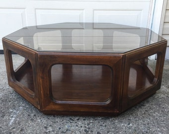 Mid Century Octagonal Coffee Table with Smoked Glass