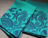 Sea Life hand block printed navy on turquoise linen napkins nautical home decor set of four