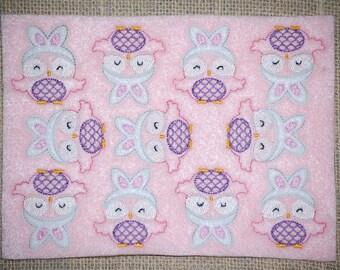 Shy Owl Bunny Embroidered Feltie Sheet