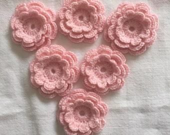 6 Crochet Flower Appliques, Pastel Pink Three-Layer Flowers