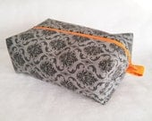 Makeup Travel Case /  Zippered Box Pouch / Toiletry Case / Woman's Gift Idea /  Black, Gray with Orange / Cosmetic Travel Case
