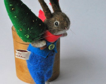 Original Needle Felted Festive  Bunny with Felt Tree and snowball