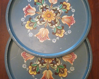 2 Vintage Floral Tin Trays Slate Blue from Norway Toleware Like