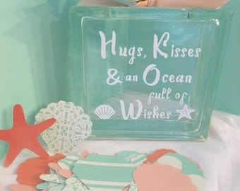 """Guest Book Wish Block - Glass Block with """"Hugs, Kisses and an Ocean full of Wishes"""" - Wedding or Baby Shower - Paper Shells & Starfish mint"""