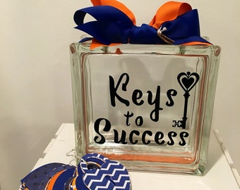 """Guest Book Wish Jar - Glass Block with """"Keys to success """" -Personalized for Free - Paper Locks in Coordinating Colors/ graduation , New Job"""