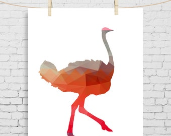 Ostrich, Kids Decor, Kids Room Wall Print, new baby girl Animal Wall art, cute baby gift, Modern Nursery, Kids Room Art, Animal Kids Decor