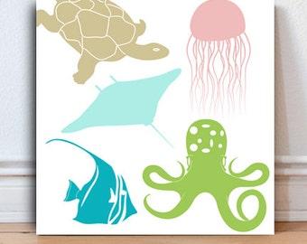 Ocean nursery Sea Nursery Octopus Sea Turtle Stingray Jellyfish Marine Life baby gifts ocean art Kids Bathroom Art kids gift Bathroom Decor