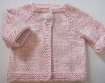 Little Girl's Hand Knit Cardigan with pink striped button-Baby Girl's Hand Knit Cardigan