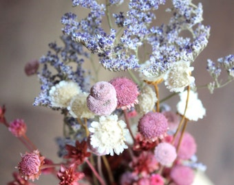 Caspia-Ivory Margarita flowers-princess Pine-Pink Button flowers-Hill flowers-Small bunch assorted Dried flowers