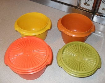 Vintage Tupperware Stackable Bowls and Lids Autumn Harvest Colors Orange Yellow Olive Green