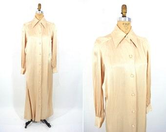 1970s dress vintage 70s Dorian beige satin long sleeve hostess maxi dress L