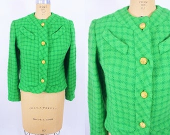 1960s jacket vintage 60s mod plaid green gold button suit jacket L W 37""