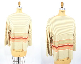 1980s sweater vintage 80s striped 3 quarter sleeve pullover top XL