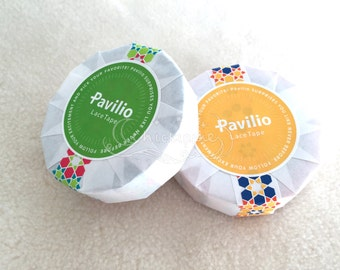 Pavilio Lace Tape - Decorative Sticker Roll -  Arabesque Orange / Arabesque Green - Standard Width