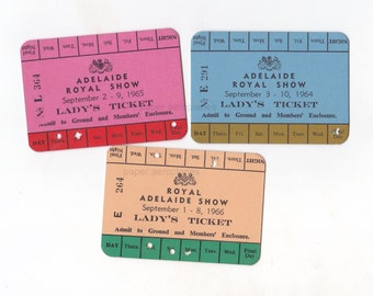 1 x  Vintage Brightly Coloured Australian Royal Show Lady's Pass | Womens Entrance Tickets | Admit One Ephemera 1960's