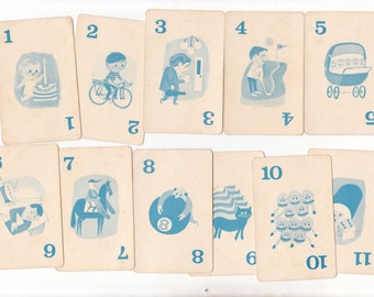 11 x Cute Childrens Game Cards Great Illustrations for Collage Altered Arts