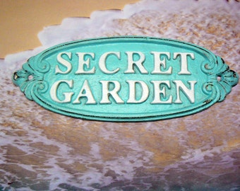 Secret Garden Gate Cast Iron Sign Beach Blue White Wall Plaque