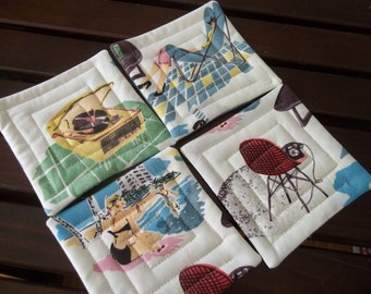 Retro Mod 1960's Fabric Coaster Set of 4