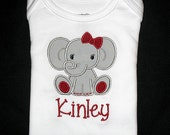 Custom Personalized Applique ALABAMA Roll Tide or Name GIRL ELEPHANT Bodysuit or Shirt - Gray and Crimson Red