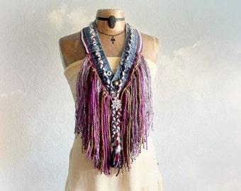 Rustic Western Boho Fringe Necklace Mori Girl Jewelry Up Cycled Clothing Purple Tribal Scarf Bohemian Festival Cowgirl Scarf 'SAMMI'