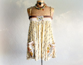 Country Shabby Top Loose Flowing Shirt Summer Fashion Country Chic Tank Floral Pocket Braid Trim Romantic Clothing Women Boho Top S M 'AMBER