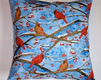 """Throw Pillow Cover, Handmade Red Birds Pillow Cover, Cardinals & Branches Pillow, Song Birds in Blue Accent Pillow Cover, 16x16"""" Square"""