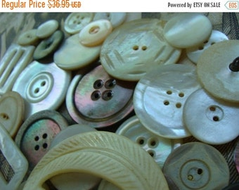 BIG SALE 50 Antique Abalone Carved Shell Buttons Mother of Pearl Large Iridescent Cut Shell Mixed Buckle and Button Lot 16