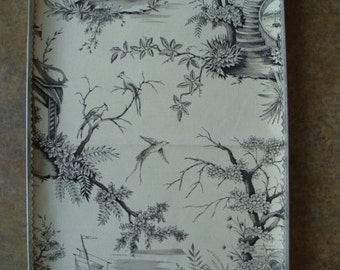 Gorgeous Vintage Black and Creme Woven Toile Fabric Sample