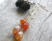 Red and Orange Agate Extra Long Gold Chain Earrings