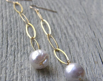 Long Large Pearl Drop and Gold Chain Earrings, Bridal Earrings